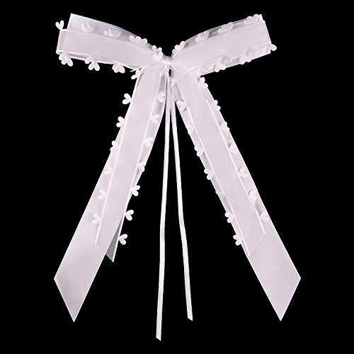 FEPITO 30 Autoschleifen Hochzeit Antennenschleifen Weiß mit Herzen Schleifen für Auto Hochzeit Deko Hochzeitsdeko Tischdeko Taufe Deko   Handgemacht (Heart - White)