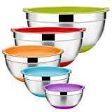 PREMIUM MATERIAL - E-far big mixing bowl set is constructed by high quality food grade stainless steel, BPA free colorful plastic lids and non-slip bottoms, Rust and dent resistance, Healthy and sturdy for kitchen daily use, Durable for many years to...