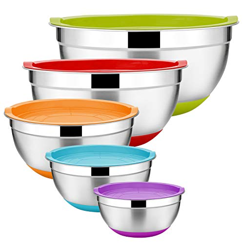 Stainless Steel Mixing Bowls Set of 5, Size 7/3.5/2.5/2/1 QT, E-far Metal Nesting Bowls with Colorful Airtight Lids & Non-Slip Bottoms, Great for Kitchen Cooking, Baking, Serving, Food Prep