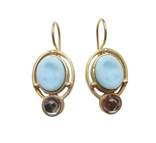 Gemmen-Ohrringe Ohrhänger hell-blau Glas-Gemme transparenter Glasstein Haken verschließbar Bronze vergoldet Antik-Look Handarbeit EXTASIA