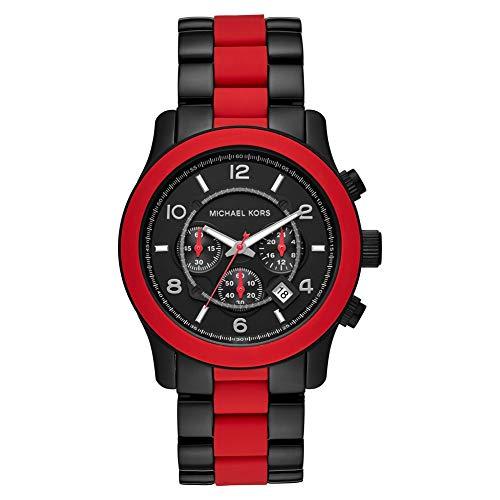 Michael Kors Runway Quartz Herrenuhr mit rot/schwarzem Edelstahlarmband MK8779