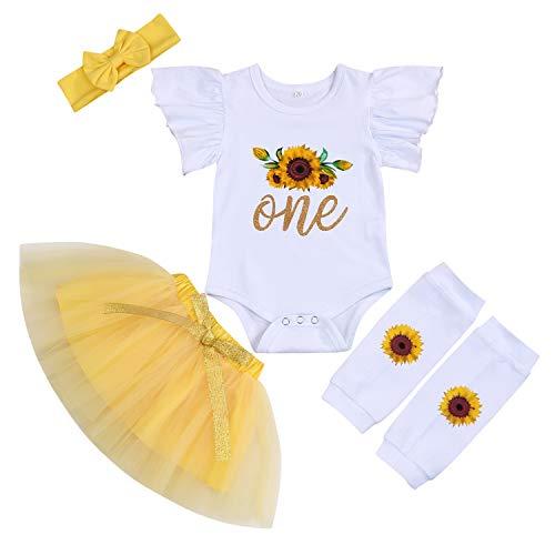 Baby Girl Birthday Cake Smash Infint Girl 1st Birthday Sunflower Romper Tutu Skirt with Headband Leg Warmers Outfit Set (Sunflowr, 12-18 Months)