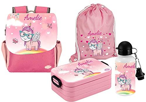 Mein Zwergenland Set 5 Kindergartenrucksack mit Brotdose Maxi, Turnbeutel und Flasche Happy Knirps NEXT Print mit Name Einhorn, 4-teilig, Pink