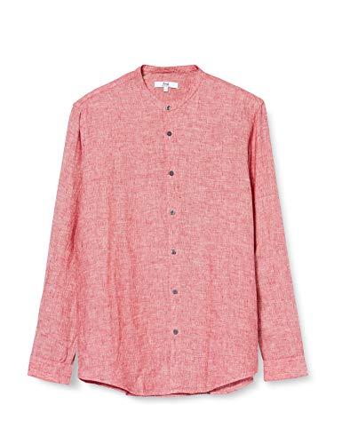 Marchio Amazon - find. Camicia di Lino a Manica Lunga Uomo, Red (Red), L, Label: L