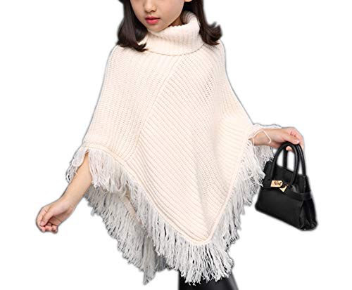 Sitmptol Girls Kids Fall Knitted Pullover Sweaters Poncho Tassel Turtleneck Cloak Cape (11-12 Years, White)