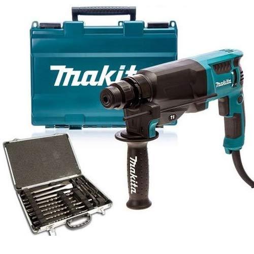 Makita HR2630 SDS+ Hammer Drill 240V with Makita D-21200 17Pc SDS + Drill Bit Set