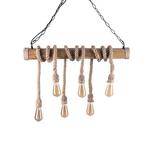 Crown - Lámpara LED de bambú con cuerdas de cáñamo (E27, 6 bombillas Edison regulables)