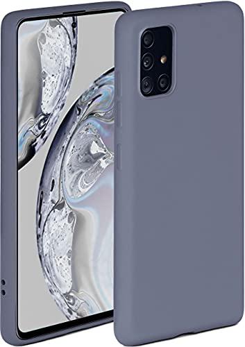 ONEFLOW Soft Hülle kompatibel mit Samsung Galaxy A51 Hülle aus Silikon, erhöhte Kante für Displayschutz, zweilagig, weiche Handyhülle - matt Blau Grau