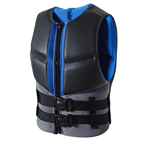 FSDH Chaleco de Vida para Adultos, Chaleco de natación Chaqueta de Ayuda de flotabilidad, con cinturón de Seguridad Ajustable, Adecuado para Pesca, Vela, Surf, navegación Black Gray-L