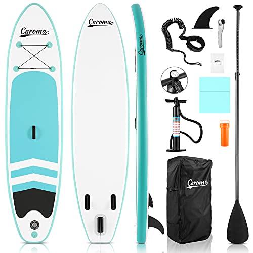 Caroma Tabla de surf inflable de pie para tabla de surf SUP, tabla ajustable, 3 m (azul claro, 305 x 71 x 10 cm)