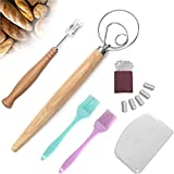 Bread lame and danish whisk set,Stainless Steel Bread blade cutter/scoring knife ,Lame Bread Tool With 5 Replaceable Blades And Bench Scraper For Baking eyes