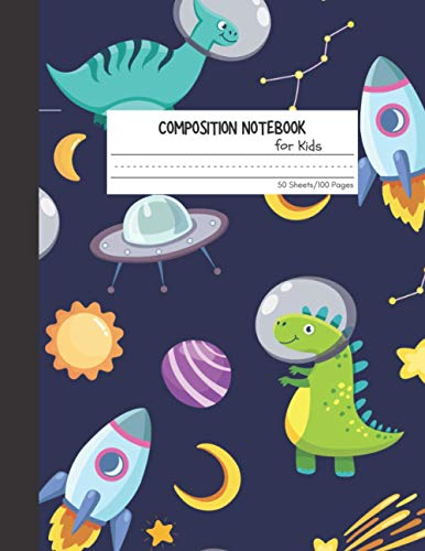 Composition Notebook for Kids: Dinosaurs Outer Space Astronaut Primary Story Journal Book Hand Writing and Draw Notebook for Grade K-2 | Dotted ... 8.5 x 11, 100 Pages | Cute Dinosaur Series 3