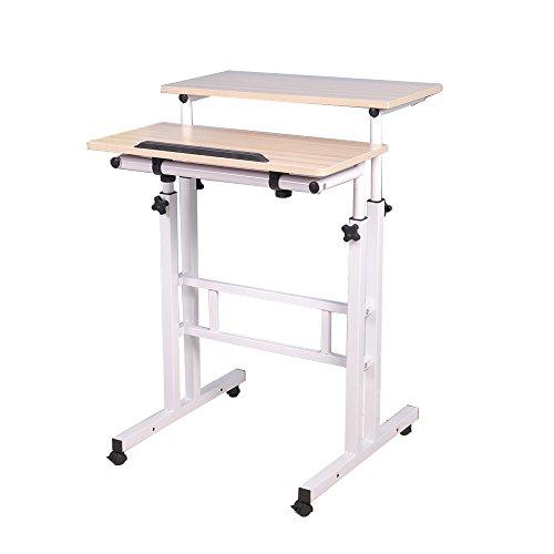 DlandHome Sit-Stand Desk Cart Mobile Desk Height-Adjustable Sit to Stand Office Desk Riser Standing Table Workstation,2 Boards Maple