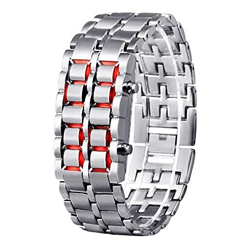 N&I Reloj deportivo con luz LED, resistente al agua, electrónico, segunda generación, binario, digital, para mujer, correa de aleación (color B)