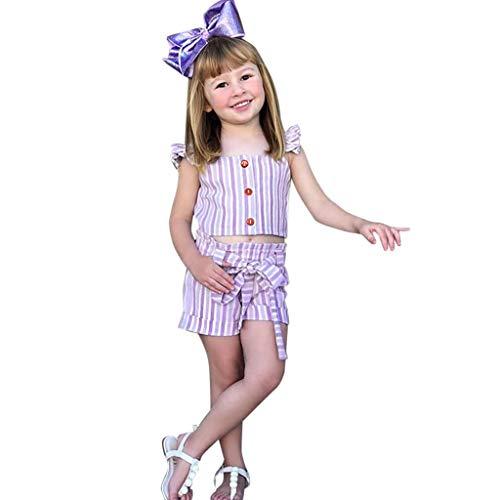 Julhold kleine kinderen baby meisjes ruches riem gestreept slank tops boog shorts 2 STUKS outfits sets 1-5 jaar