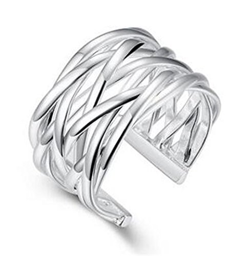 Boowhol Ladies Fashion Jewelry 925 Sterling Silver Geometry Adjustable Carved Knitting Open Rings For Women
