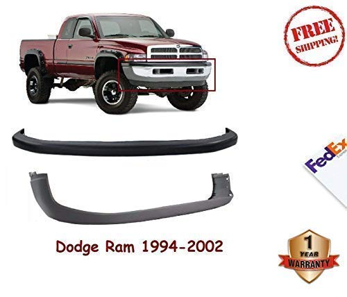 New Front Bumper Upper Cover Textured Black For 1994-2002 Dodge Ram 1500 2500 3500 Extended/Standard Cab & Chassis Pickup Old Body Style Direct Replacement Lower Cover Gray Combo Kit