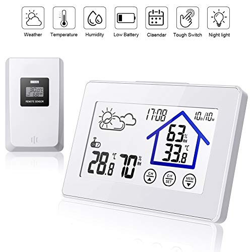 BALDR Wetterstation Funk mit Außensensor, Digital Thermometer Hygrometer Innen und Außen Raumthermometer Hydrometer Feuchtigkeit mit Wettervorhersage, Uhrzeitanzeige und Nachtlicht-Weiß