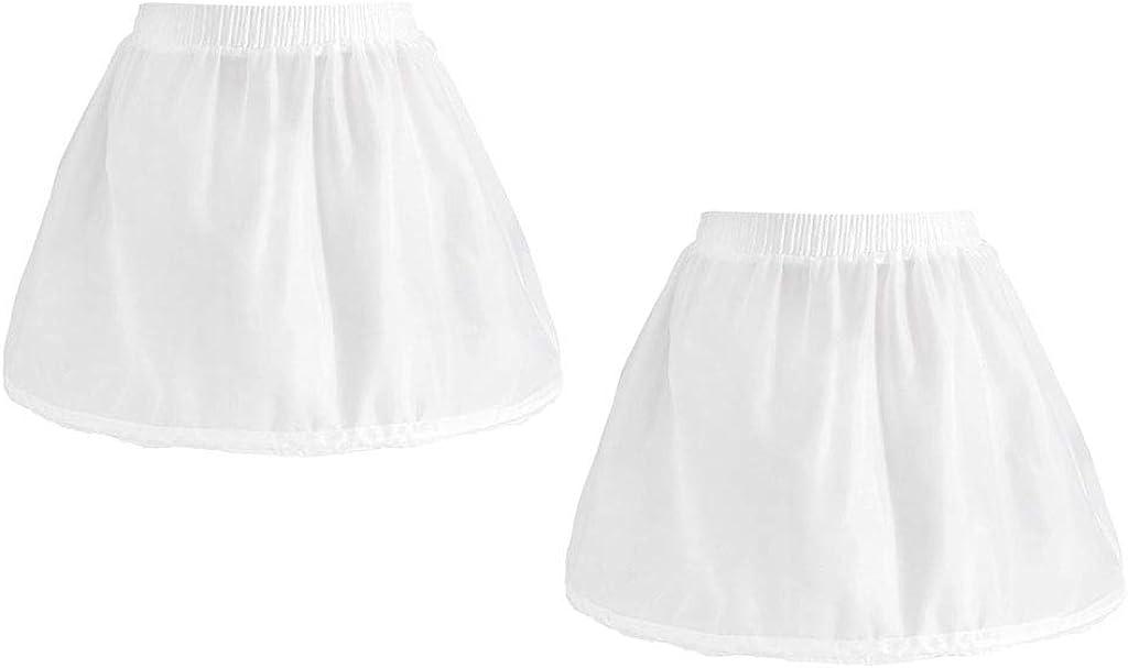 Esquirla 2X Girls 1 Hoop Puffy Tulle Petticoat Flower Girl Elastic Short Underskirt White