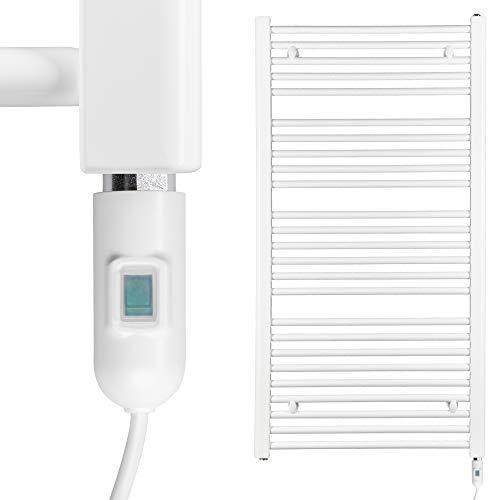 HEATSUPPLY® Badheizkörper elektrisch 1.142 x 600mm Handtuchheizkörper 600 Watt Handtuchtrockner weiß inkl. Heizstab mit Ein- und Ausschalter