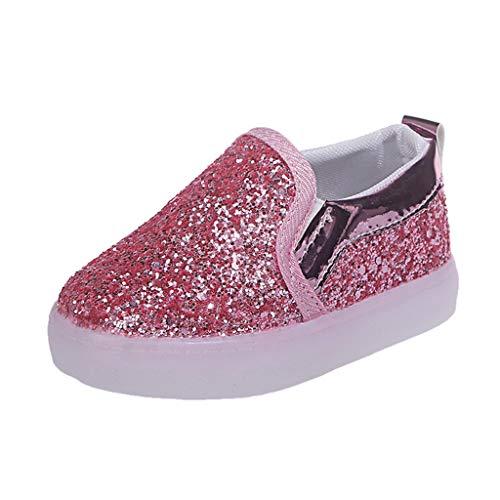 Kinder Schuhe mit LED Licht, FNKDOR Mädchen Jungen Baby Lauflernschuhe, 21-30 (25 Fußlänge:15CM, Pink)