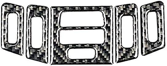 5Pcs/Set Carbon Fiber Car Center Console A/C Outlet Air Conditioning Vent Decorative Frame Cover Trim For Bmw E90 E92 E93 (Black)