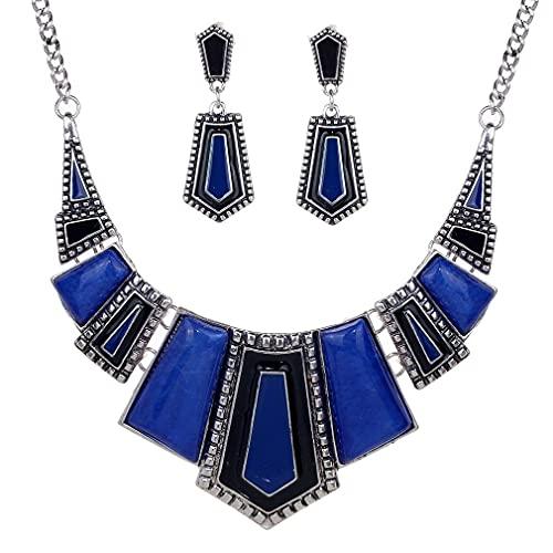 Conjunto de collar y pendientes de collar con diamantes de imitación irregulares de plata tibetana étnica vintage
