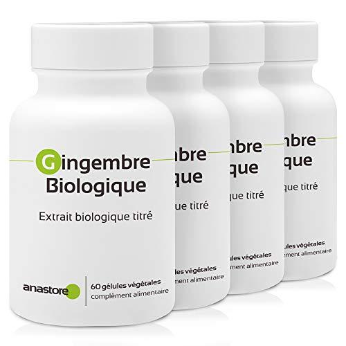 Bio-Ingwer, 3 + 1 gratis 375 mg / 240 Kapseln * Gelenke (Entzündung), Verdauung, Immunität (Antimikrobien), Transportgeschädigt.