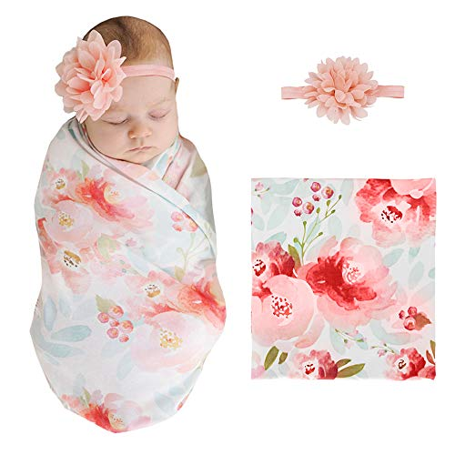 XMWEALTHY Newborn Swaddle Receiving Blanket Sets Floral Baby Headbands Sets Soft for Infants Girls Boys