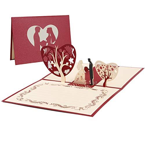 Vicloon Tarjeta de Felicitación de Boda Invitación, Tarjeta Regalo de 3D Pop-up con Sobre y Papel de Carta, Tarjeta de San Valentín de Cumpleaños para Novios, Novias, Aniversario, Navidad