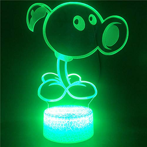 Lámpara De Ilusión 3D Luz De Noche Led Control Plants Vs Zombies Usb Decor Touch Sensor Kids Bedroom Decoration Give Friends Best Birthday Holiday Gifts For Children