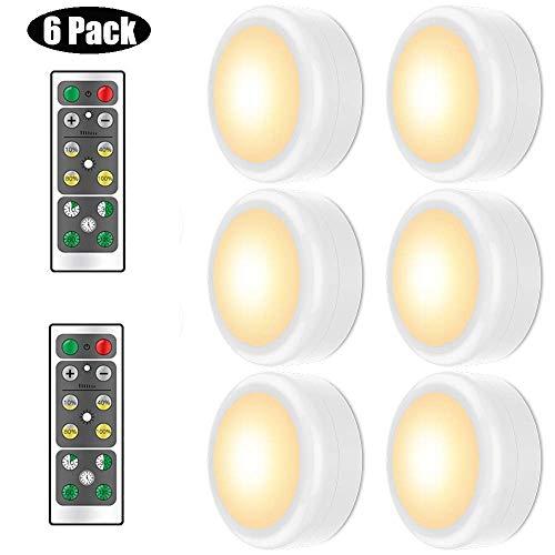 Schrankbeleuchtung LED Nachtlicht, Wuudi LED Intelligentes Energieeffizient 6 pack mit Fernbedienung für Schlafzimmer, Kinderzimmer, Treppe, Flur Batteriebetrieben (Warmes Weiß)