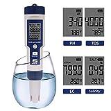 5 en 1 Ph Temperatura Tds EC Salinity Medidor Impermeable con función de calibración automática Calidad del Agua Ph Tester