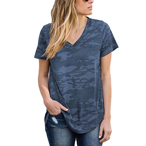 Amaryllis Apparel Women's Blue Camo Loose Cut Casual Short Sleeve Top