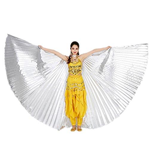 Wuchieal Bauchtänzerin Isis Wings Halloween Darstellende Angel Wings für Carnival Einschließlich Stöcke/Tasche (Silber, One Size)