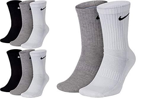 Nike 8 Paar Herren Damen Socken Lang Weiß oder Schwarz oder Weiß Grau Schwarz Set Paket Bundle, Größe:42-46, Farbe:weiß grau schwarz