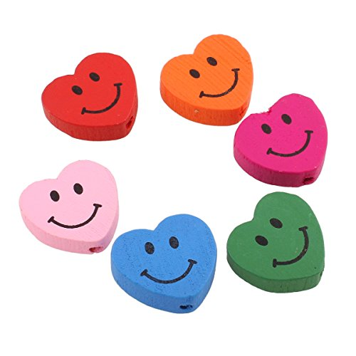 Wooden Beads Children's Dummy Chains Craft Saliva-Proof 17 mm Beads for Threading Colourful Mix Heart with Smiley Face Motif H145