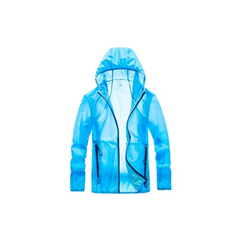 GCX - Protector solar transpirable para hombre, ropa de verano, ropa de piel transpirable para hombre de seda helada, chaqueta protectora solar, para pesca al aire libre, ropa elástica, color Azul 1, tamaño Large
