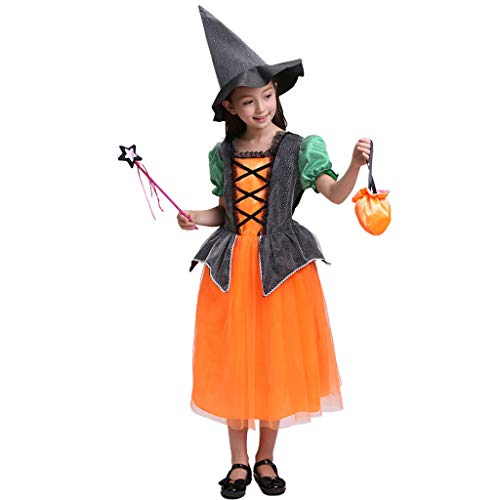 PHILSP Vestido Niños Disfraz de Halloween Bruja Cosplay Color de Contraste Gorra de Vestir Bolsa de Dulces 90 cm