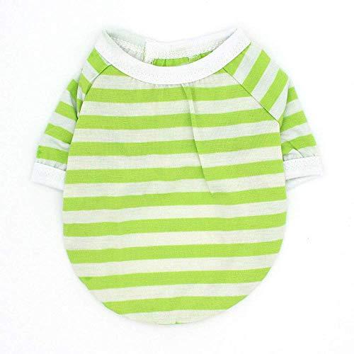 Fenghua klassiek strepen-T-shirt voor huisdieren, schattig vest, zomerjurk, korte mouwen, groen, S
