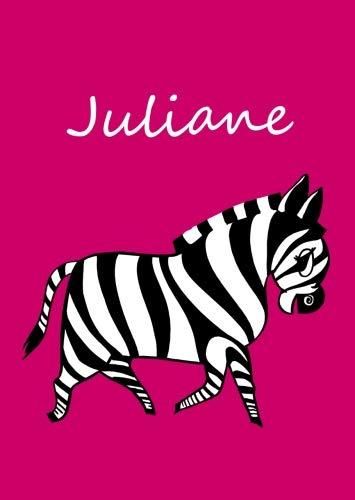 Juliane: personalisiertes Malbuch / Notizbuch / Tagebuch - Zebra - A4 - blanko