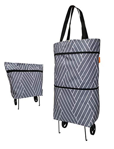 Reusable Grocery Bags with Wheels Foldable Collapsible Trolley Bag Bigger Capacity Grocery Cart - Wear-resistant, Durable Wheels, Sturdy Sewing - for Shopping, Super Markets, Trips (Grey)