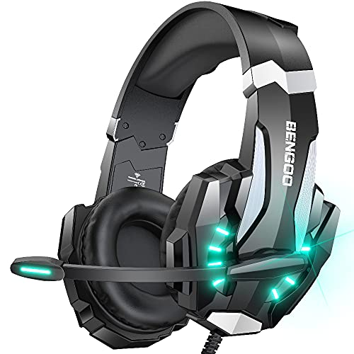 BENGOO G9000 Stereo Gaming Headset for PS4 PC Xbox One PS5 Controller, Noise Cancelling Over Ear Headphones with Mic, LED Light, Bass Surround, Soft Memory Earmuffs for Laptop Mac - Black