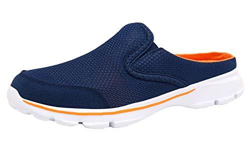 ChayChax Zapatillas de Estar por Casa para Mujer Hombre Zuecos Cómodos Suave Pantuflas de Interior Exterior Antideslizante Ligero Planos Zapatos de Casa, Azul Naranja, 44 EU