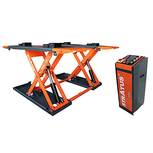 STRATUS Extra Wide Commercial Grade Open Center Portable Mid Rise Electric Safety Lock Release Scissor Lift SAE-MS9000X (110V)