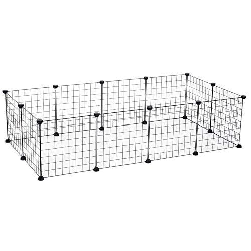 Pawhut Gabbie Recinto Animali Domestici per Cuccioli Filo Metallico 106 x 73 x 36 cm Nero