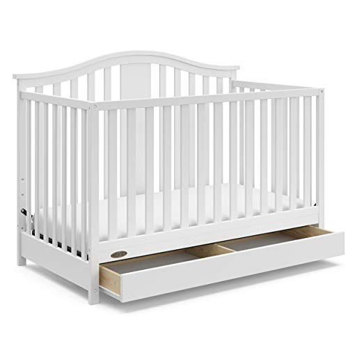 Graco Solano 4-in-1 Convertible Crib with Drawer (White) Easily Converts to Toddler Bed, Day Bed, or Full Bed, Three Position Adjustable Height Mattress, Assembly Required (Mattress Not Included)