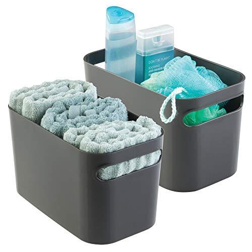 mDesign Badkorb – Aufbewahrung für Kosmetik, Shampoo, Lotion, Parfüm etc. – auch als Handtuch Aufbewahrung geeignet – Farbe: Grau