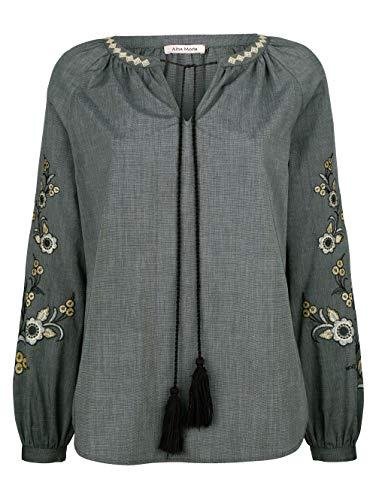 Alba Moda Tunika Langarm in Schwarz aus Baumwolle mit Stickerei