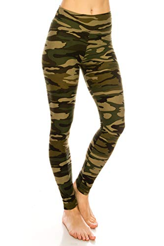 ALWAYS Women's Camo Yoga Leggings - High Waist Premium Soft Stretch Military Army Print Pants One Size